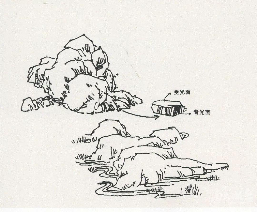 风景速写局部之树木与石头的刻画02| 太湖水吧|湖州
